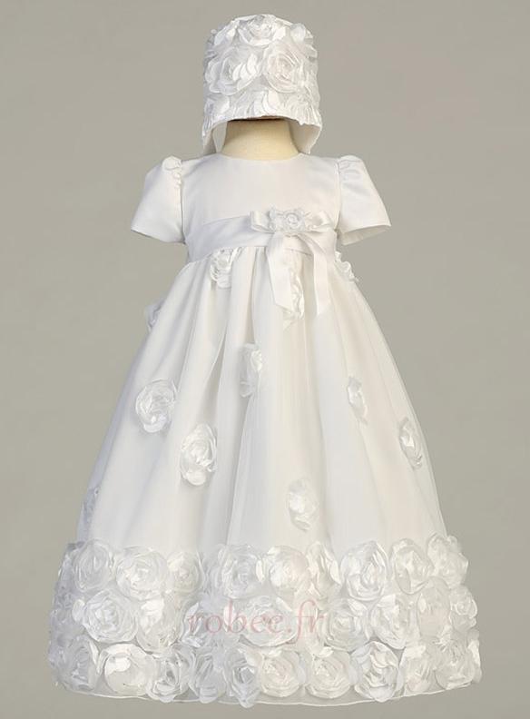 Robe de fille de fleur Blanche Manche de Bulle Longue Chapeau 1