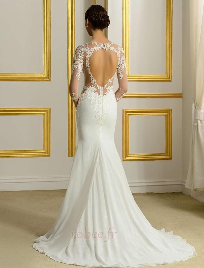 Robe de mariée Sans Manches Manquant Printemps Elégant Traîne Moyenne 3