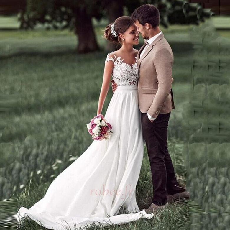 Robe de mariage Mousseline A-ligne Mancheron Automne Dentelle 1