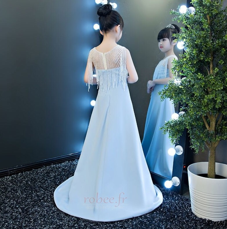 Robe de fille de fleur Chic Sans Manches Fermeture à glissière 2