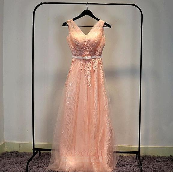 Robe de demoiselle d'honneur Chic A-ligne Glissière Rose Printemps 5