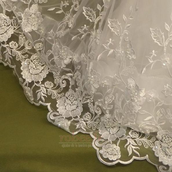 Robe de fille de fleur Dentelle Cérémonie Longue Naturel taille 4