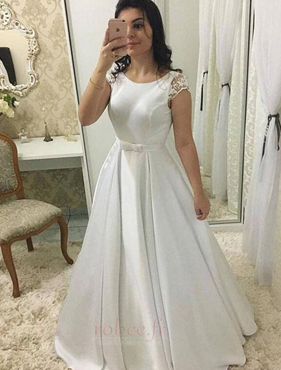 Robe de mariée Sans Manches Été Petit collier circulaire Longue 1