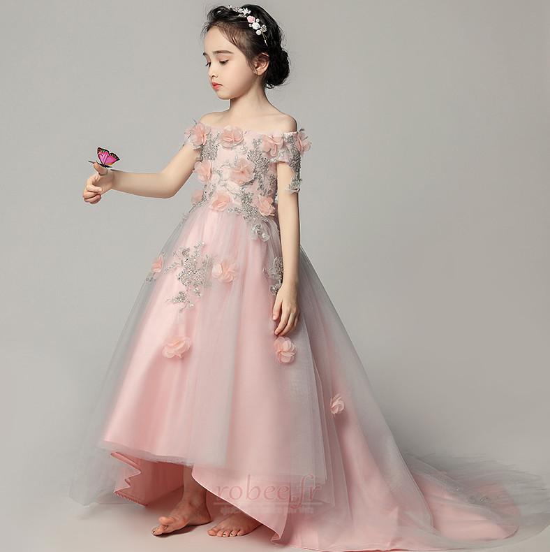 Robe de fille de fleur Satin Fleurs Été Fermeture à glissière 3