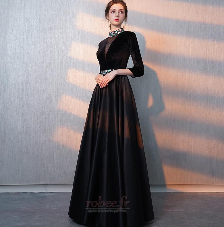 Robe de bal Fermeture éclair Montrer Luxueux A-ligne Col en V Foncé 5