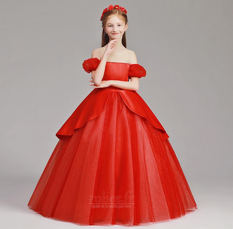 Robe de fille de fleur Tulle A-ligne Rosée épaule Trou De Serrure 3