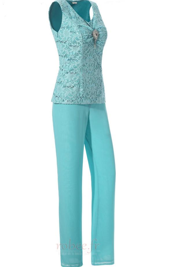 Robe mères Un Costume Luxueux Avec des pantalons Couvert de Dentelle 2