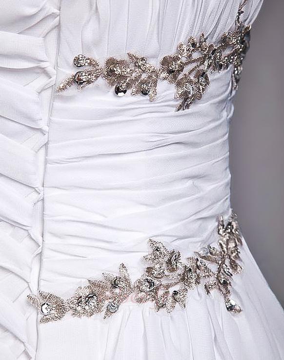 Robe de mariage Fourreau plissé Drapé Une épaule A-ligne Mousseline 8