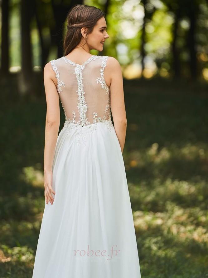 Robe de mariée Dos nu Col en V Drapé Sans Manches aligne De plein air 5