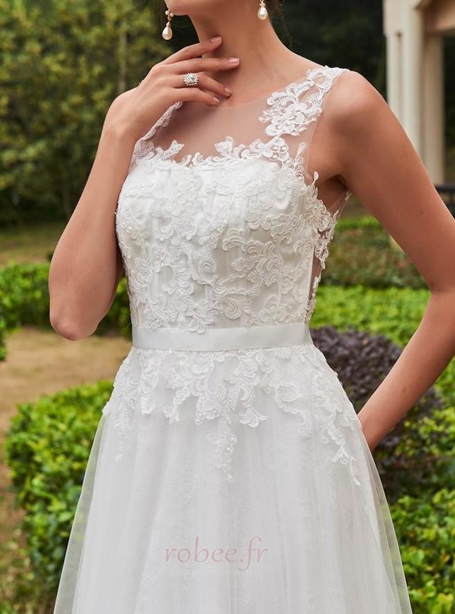 Robe de mariée Dentelle De plein air Ample & Ornée Train de petit 4