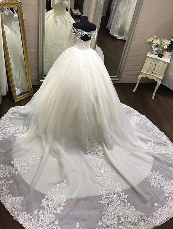 Robe de mariée Dentelle aligne Manche Aérienne Eglise Médium 3