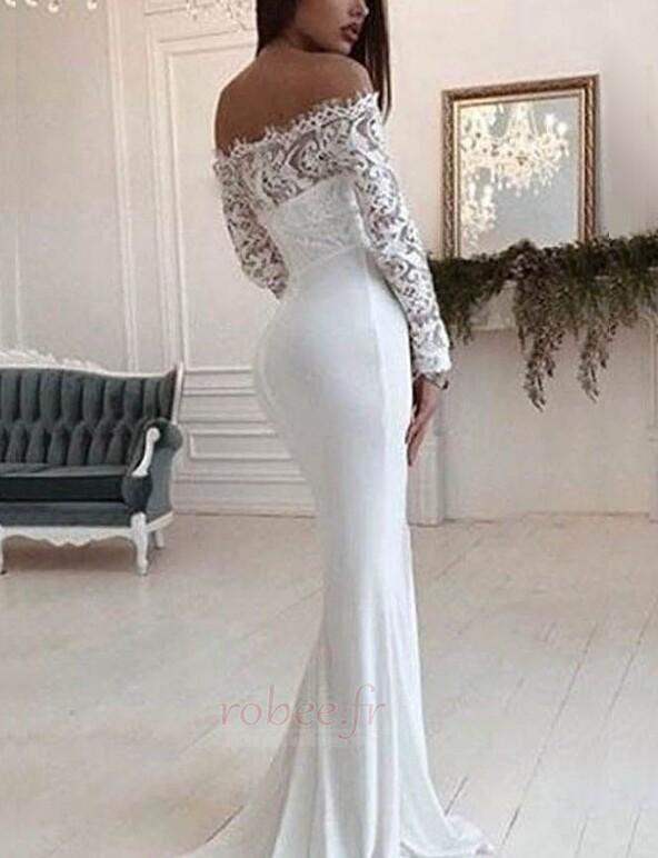 Robe de mariée Dentelle Traîne Courte Naturel taille Manche de T-shirt 2
