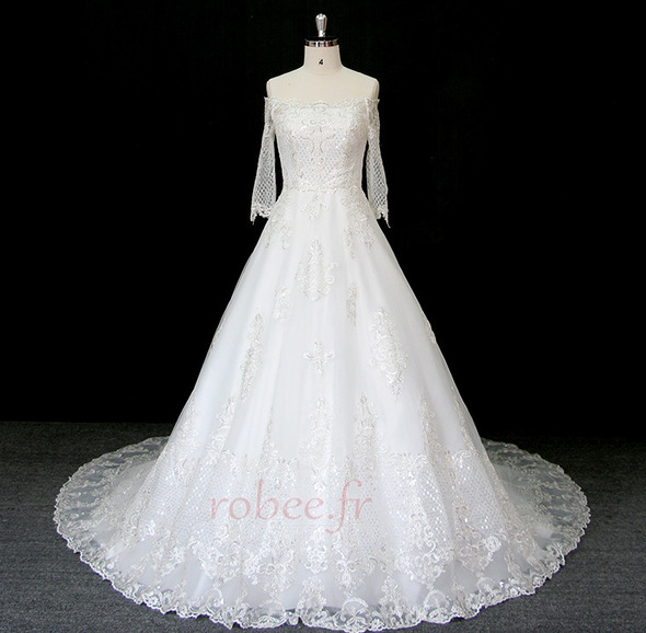 Robe de mariée Manche Longue Perler Formelle Naturel taille A-ligne 1