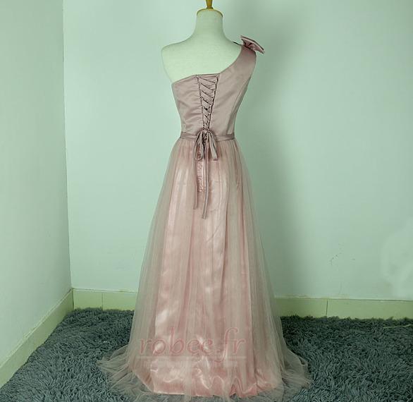Robe de demoiselle d'honneur Rose Sans Manches Mariage Chic Nœud à Boucles 2