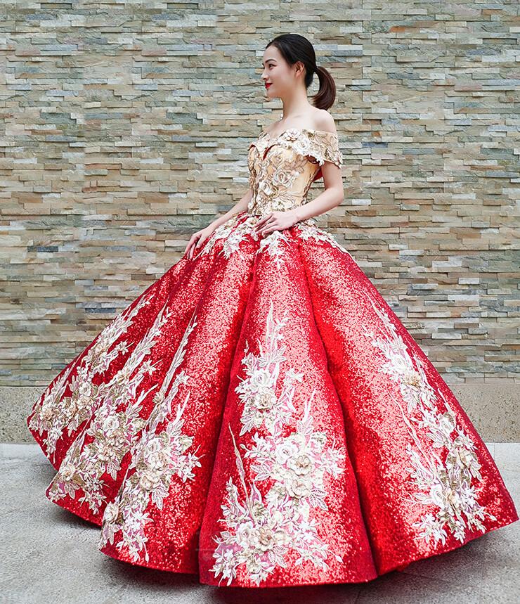 Robe de bal Rosée épaule Manche Courte Laçage À la masse Étoilé 4