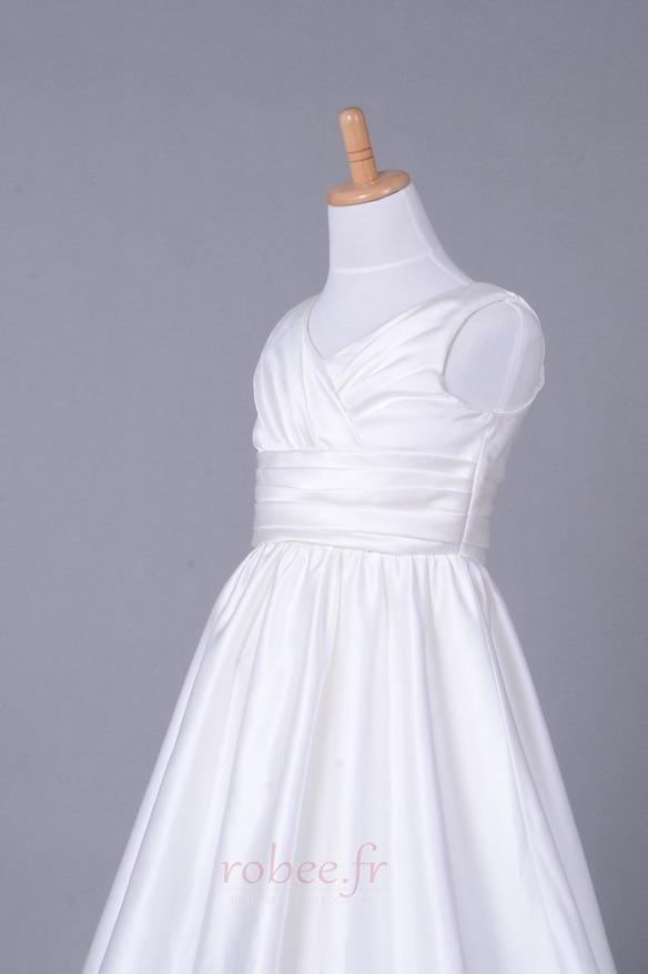 Robe de fille de fleur Corsage plissé Blanche Fermeture à glissière 5
