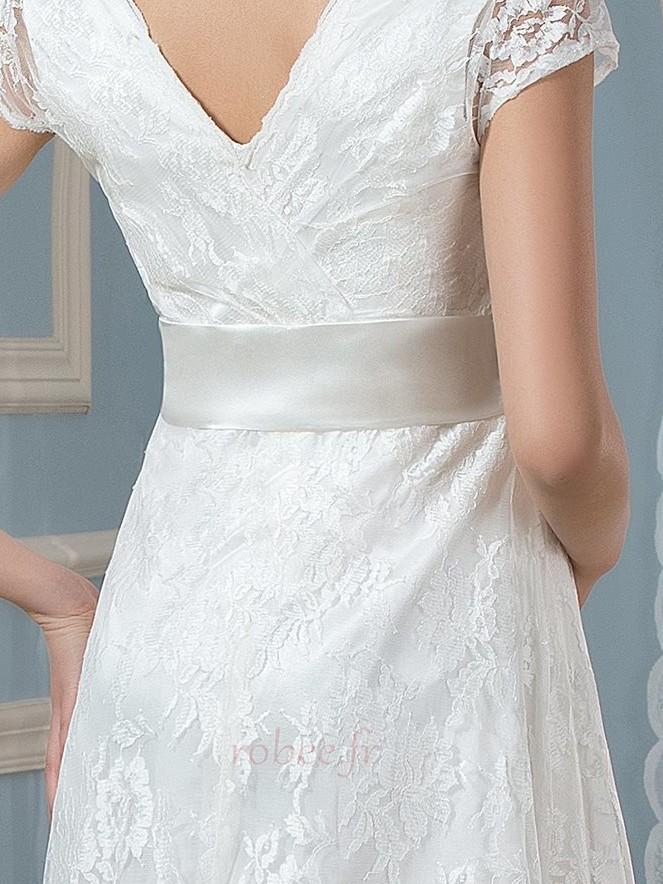 Robe de mariée Dentelle Luxueux Longueur de genou Taille haute 5