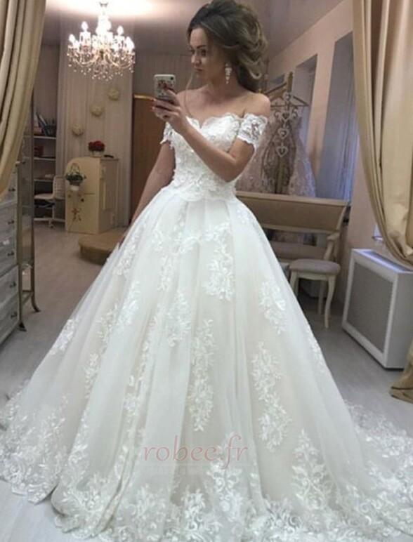 Robe de mariée Elégant Médium Manche Courte Traîne Courte Rosée épaule 1