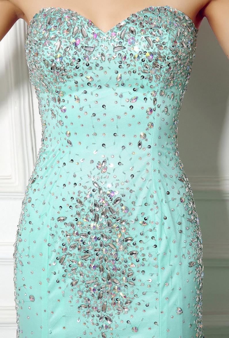 Robe de soirée Sirène Perle col coeur Elégant net Fermeture à glissière 5