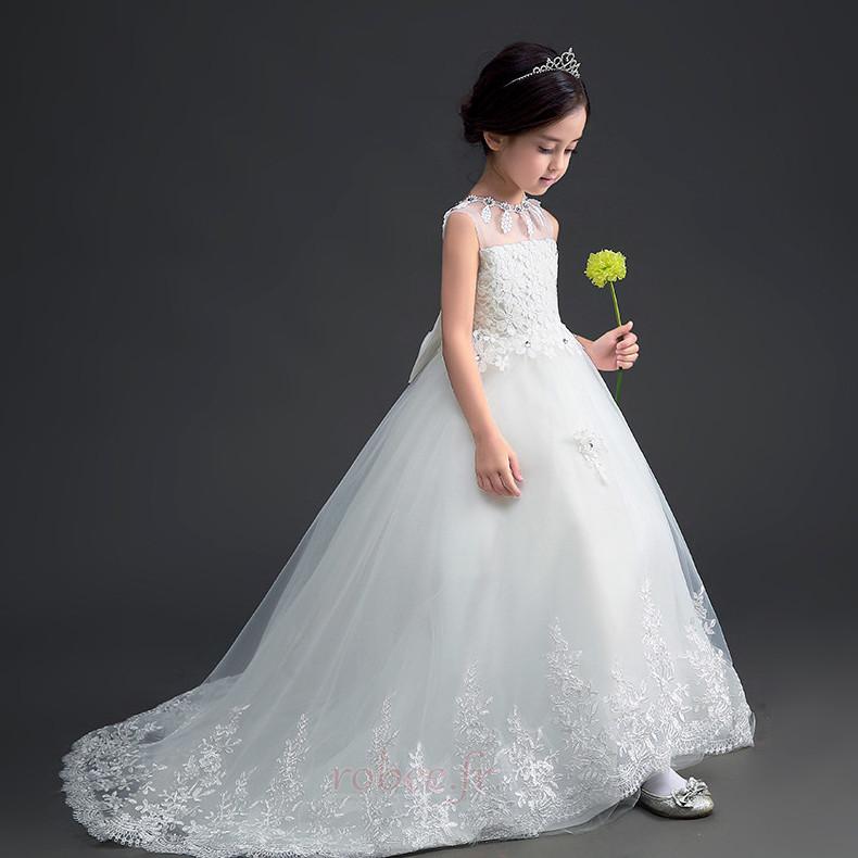 Robe de fille de fleur Longue Sans Manches Petit collier circulaire 3