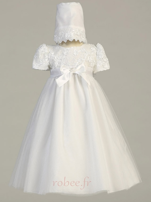 Robe de fille de fleur Traîne Démontable Manche de T-shirt élancé 1