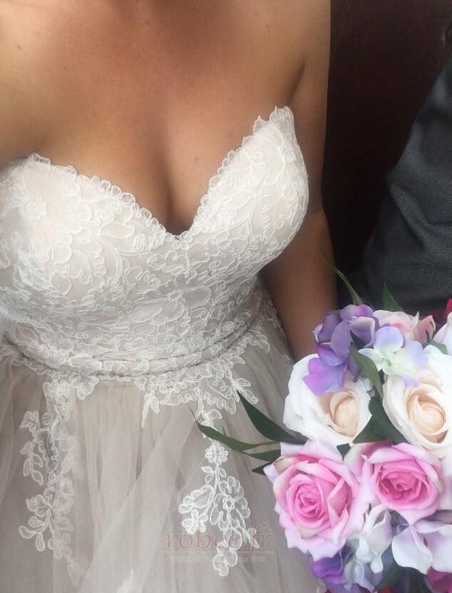 Robe de mariée Naturel taille Fermeture à glissière Printemps 3