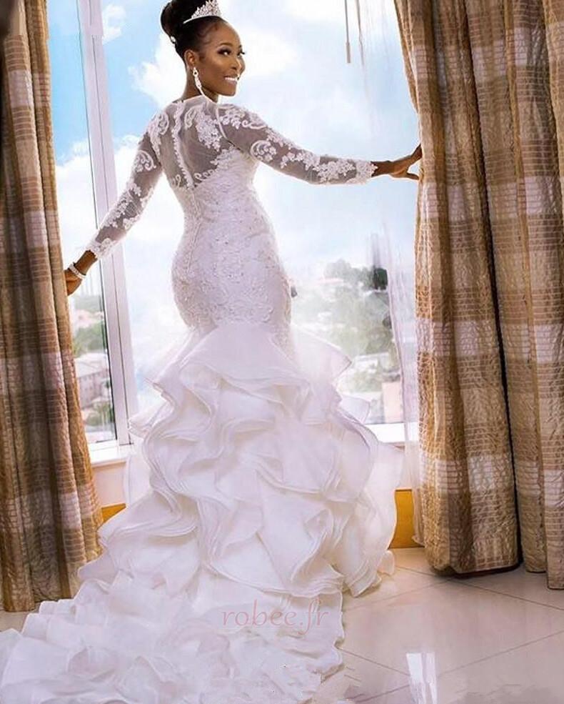 Robe de mariée Elégant Manche Aérienne Sirène De plein air Médium 2