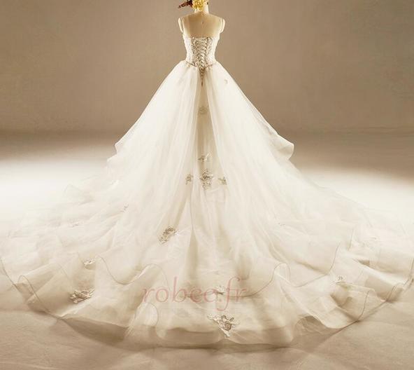 Robe de mariée Princesse Lacez vers le haut Tulle Eglise Col en Cœur 2