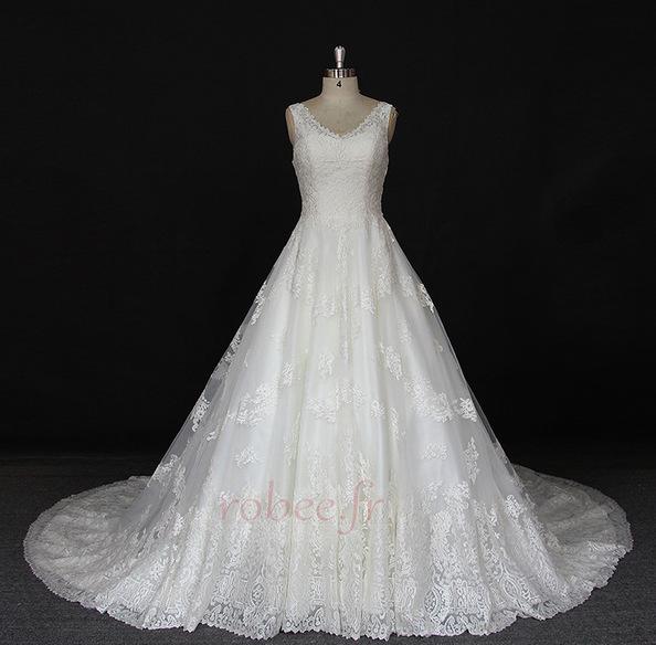 Robe de mariée Satin a ligne Printemps Traîne Longue Manquant 1