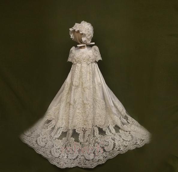 Robe de fille de fleur Manche Aérienne Naturel taille Princesse 1