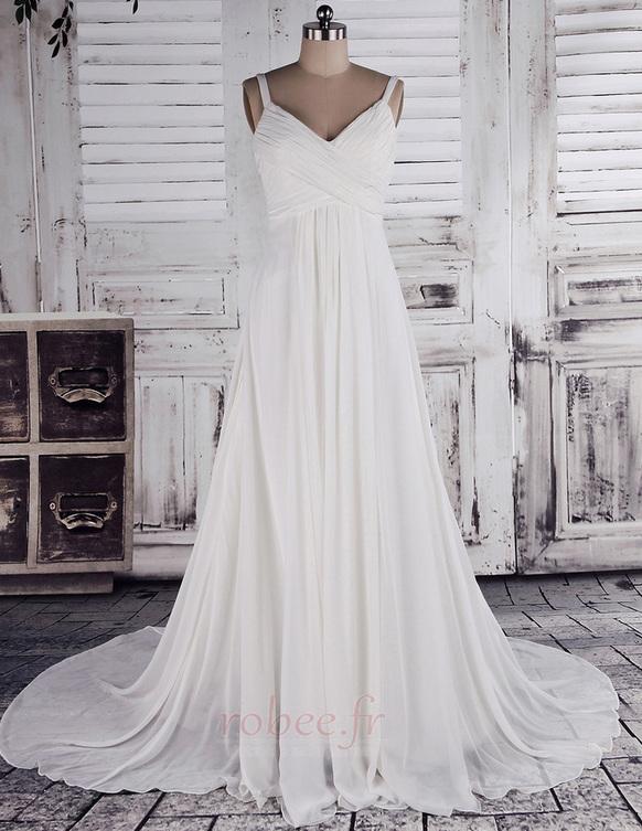 Robe de mariage crêper Sans Manches Salle des fêtes Été Milieu dos 1
