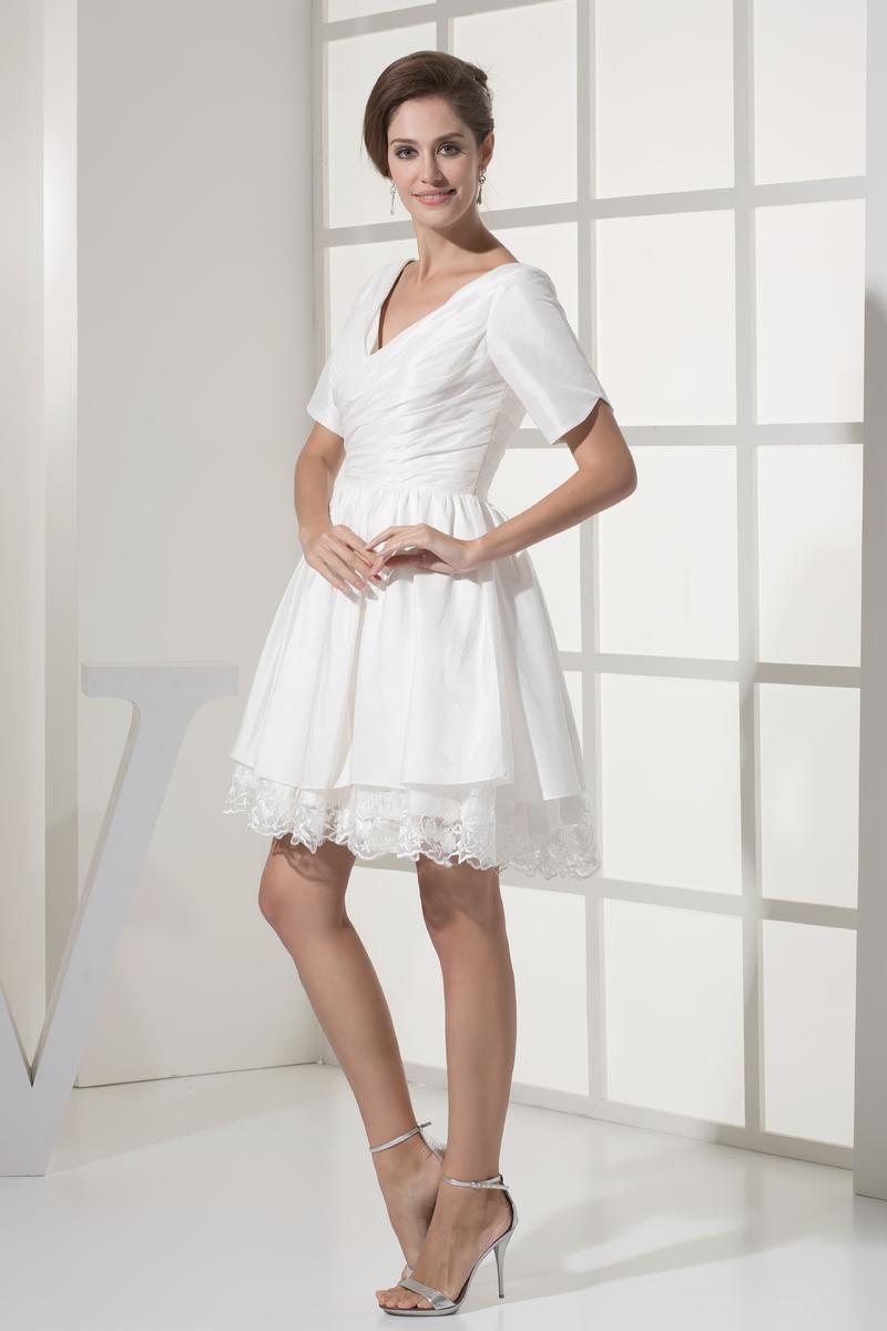 Robe de mariée Courte Haute Couvert Col en V Foncé Naturel taille 4