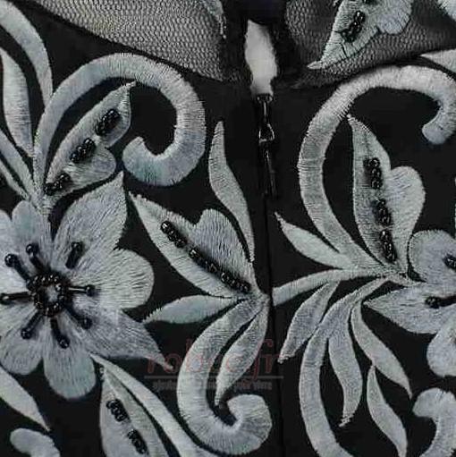 Robe mères Broderie Médium Mousseline A-ligne Luxueux Fermeture éclair 5