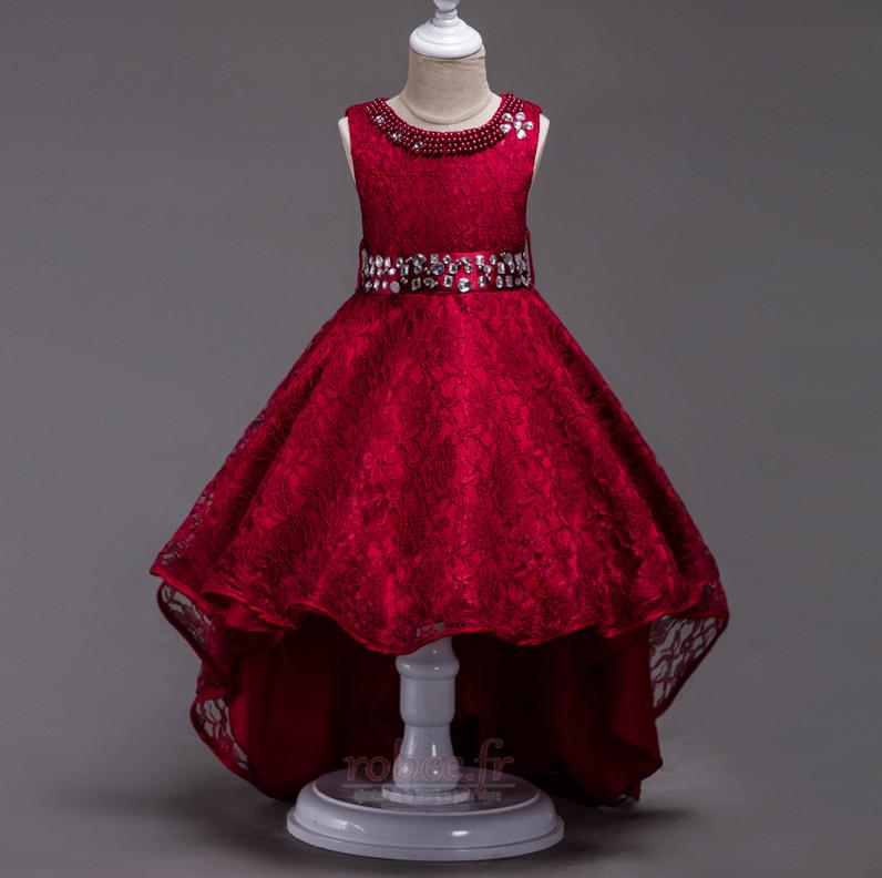 Robe de fille de fleur Col de chemise t Satin Mode Sans Manches 1