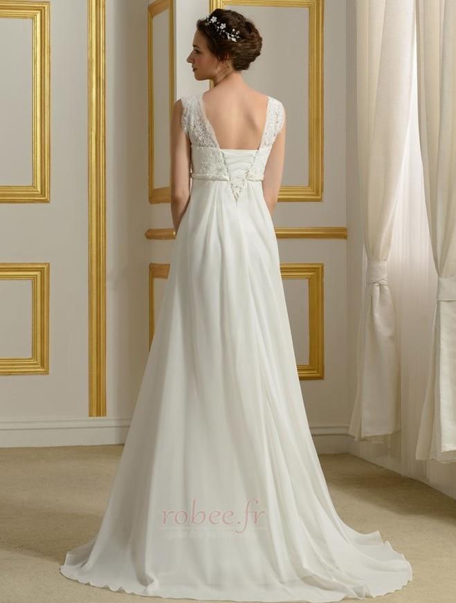 Robe de mariage Mousseline Empire Taille haute Couvert de Dentelle 2