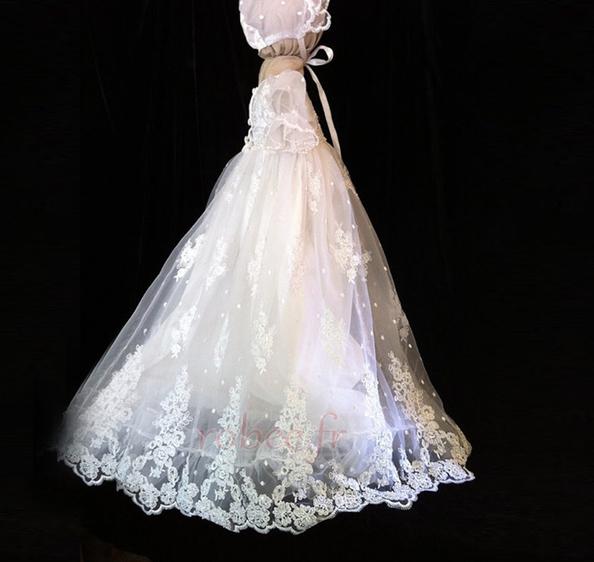 Robe de fille de fleur Dentelle Longue Princesse Chapeau Bébé 2