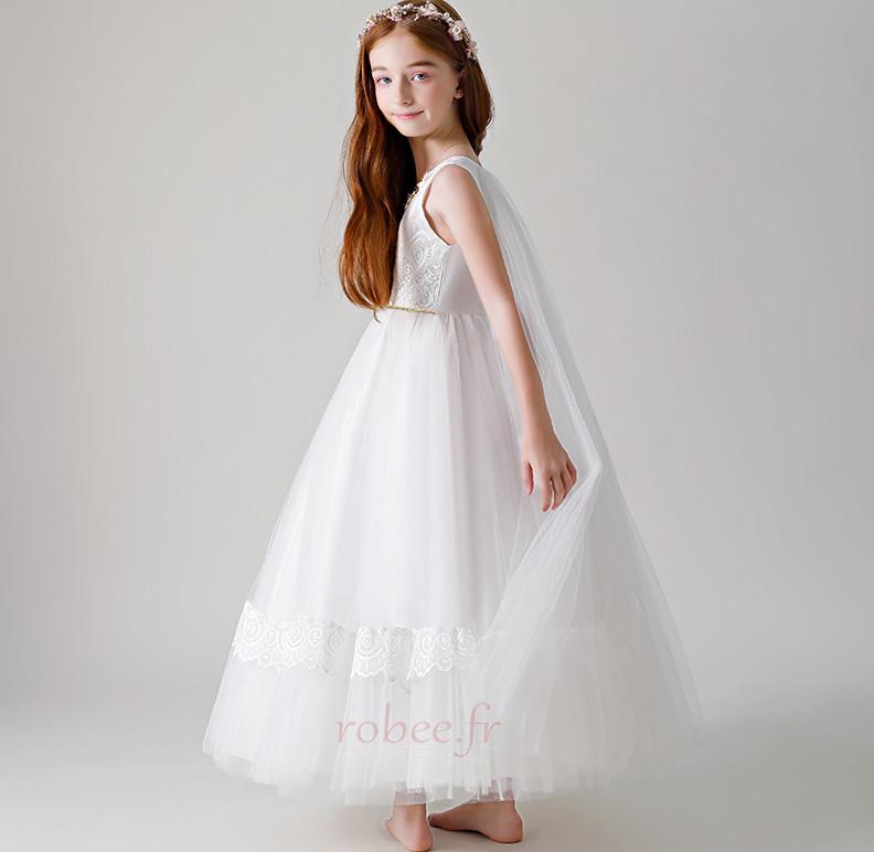 Robe de fille de fleur Tulle Haut Bas A-ligne Formelle Manquant 3