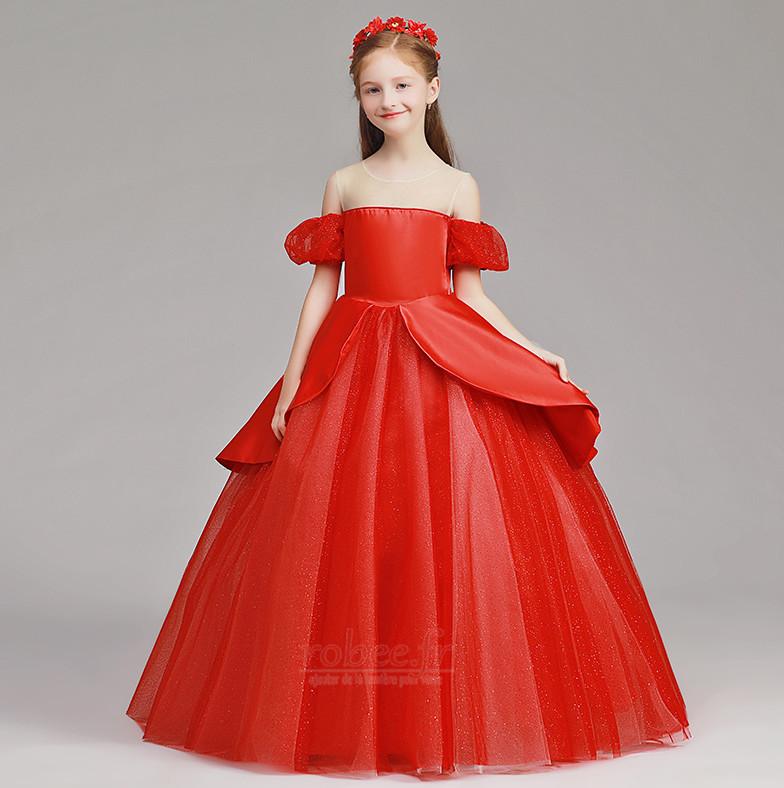 Robe de fille de fleur Tulle A-ligne Rosée épaule Trou De Serrure 1