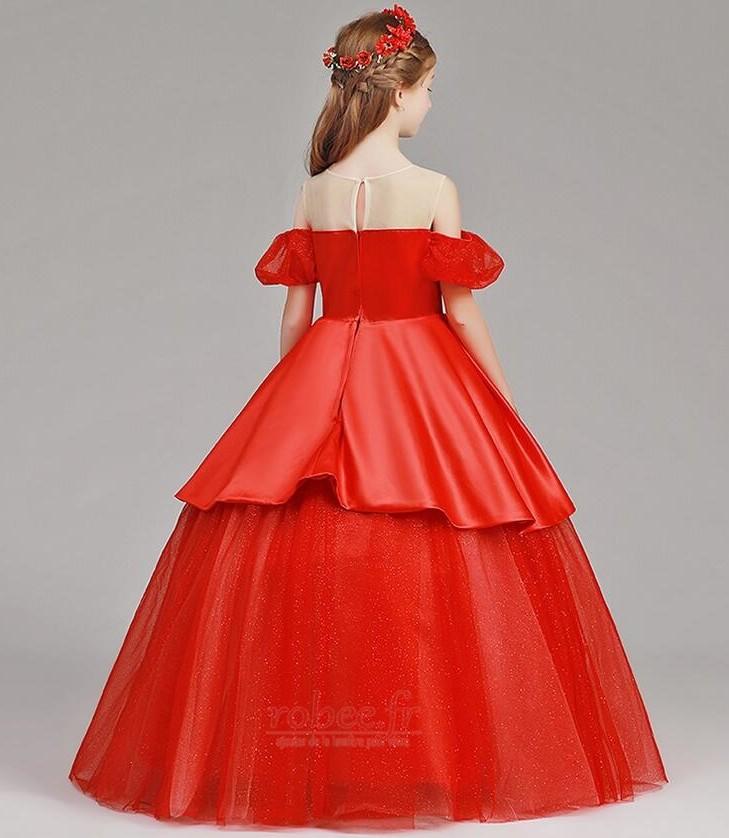 Robe de fille de fleur Tulle A-ligne Rosée épaule Trou De Serrure 2