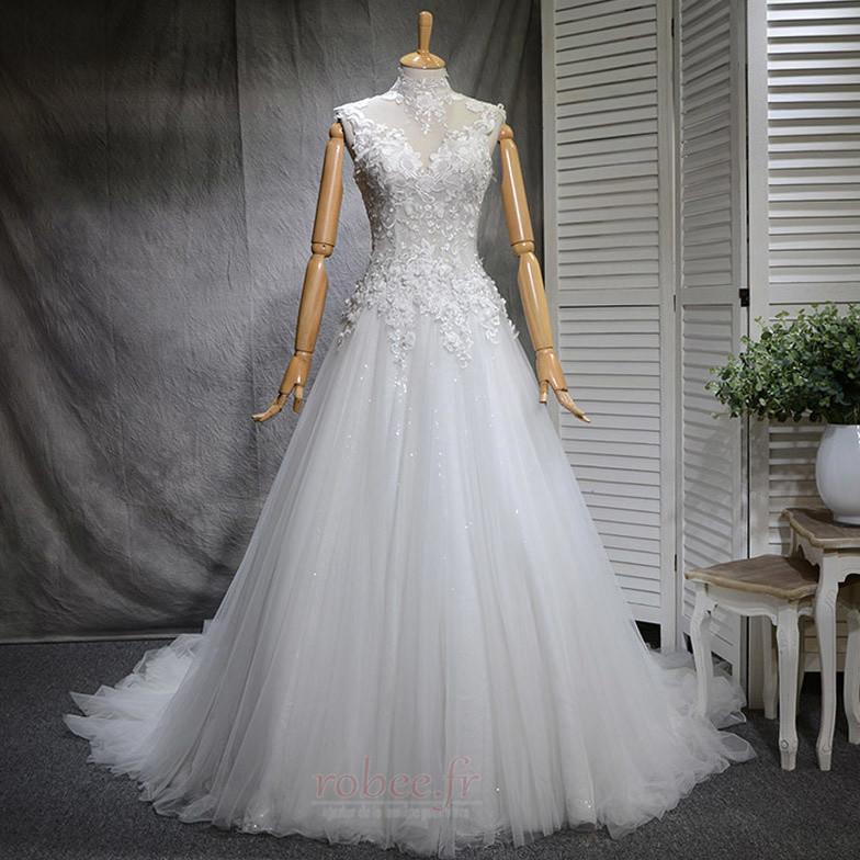 Robe de mariée Naturel taille Haute Couvert Satin A-ligne Manquant 1