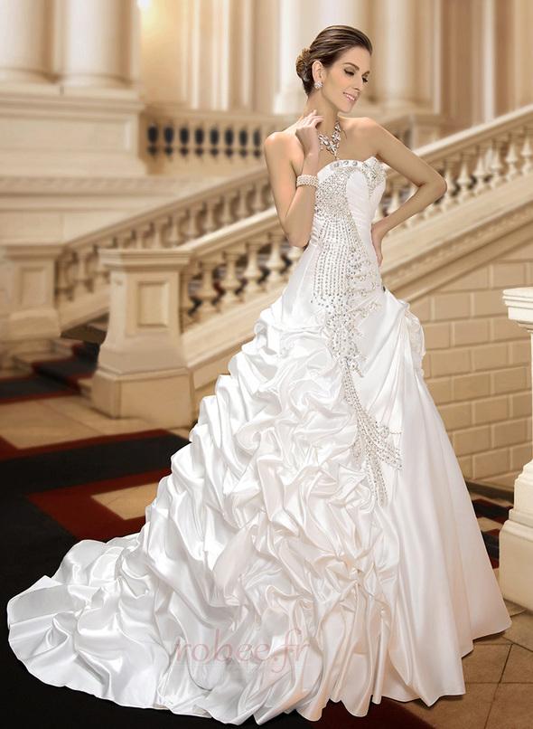 Robe de mariée Hiver Scintillait Princesse Asymétrique Satin 5