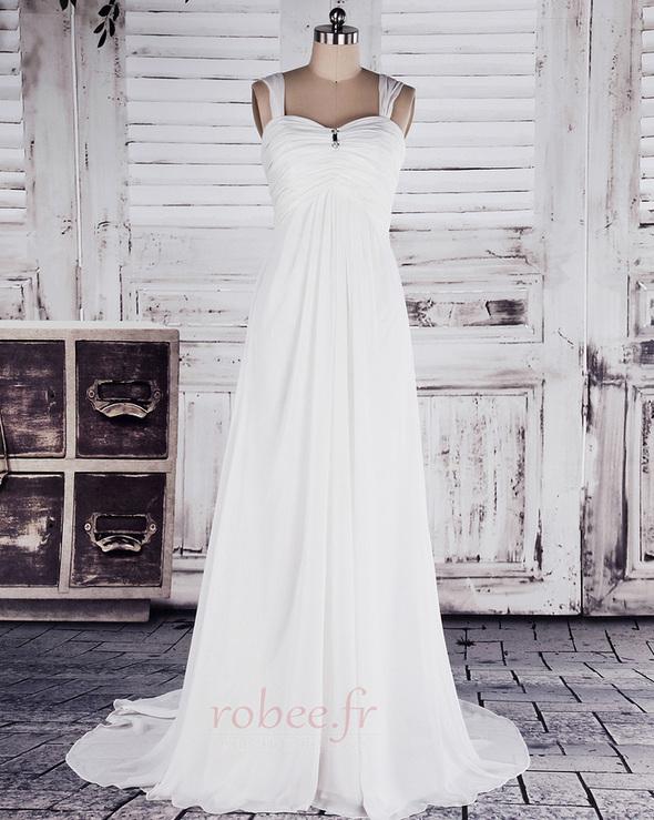 Robe de mariée Col en Cœur Sage Sans Manches Printemps noble 1