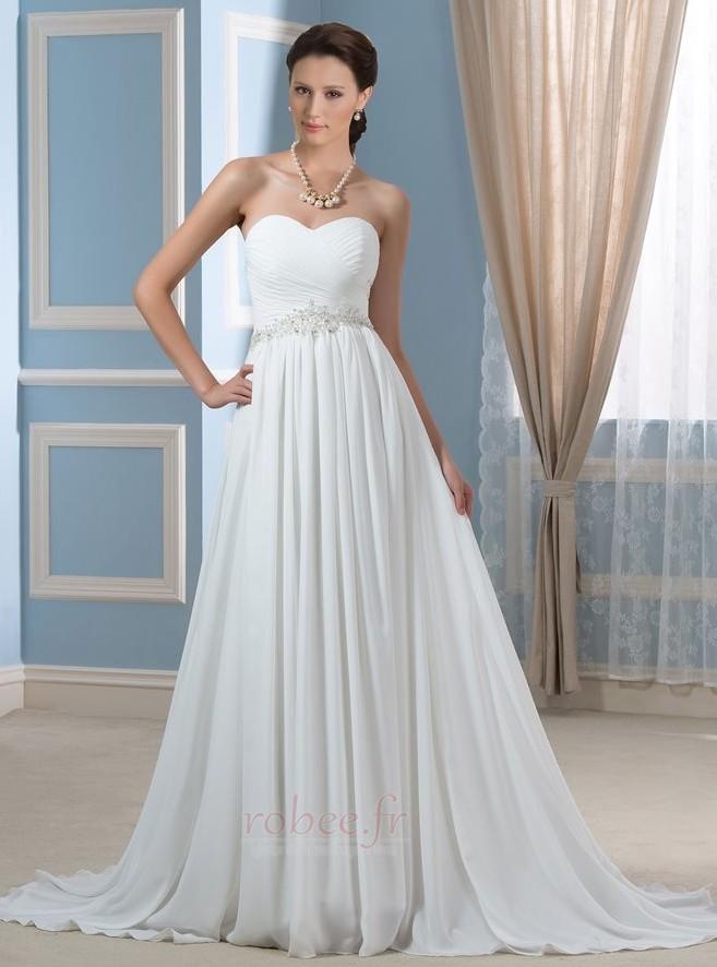 Robe de mariée Rivage Longue A-ligne Décolleté Dans le Dos Naturel taille 1