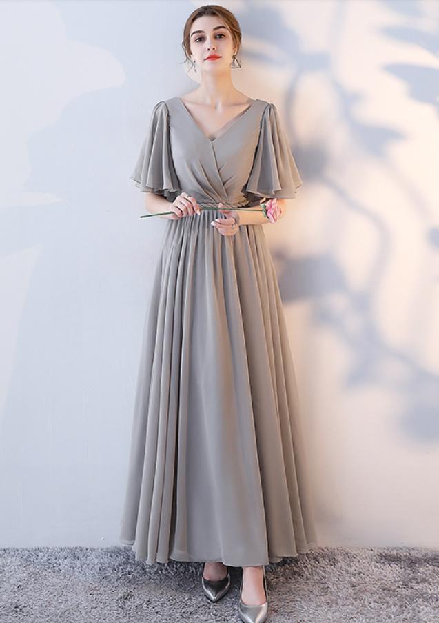 Robe de demoiselle d'honneur Laçage Sans Manches Mousseline A-ligne 13