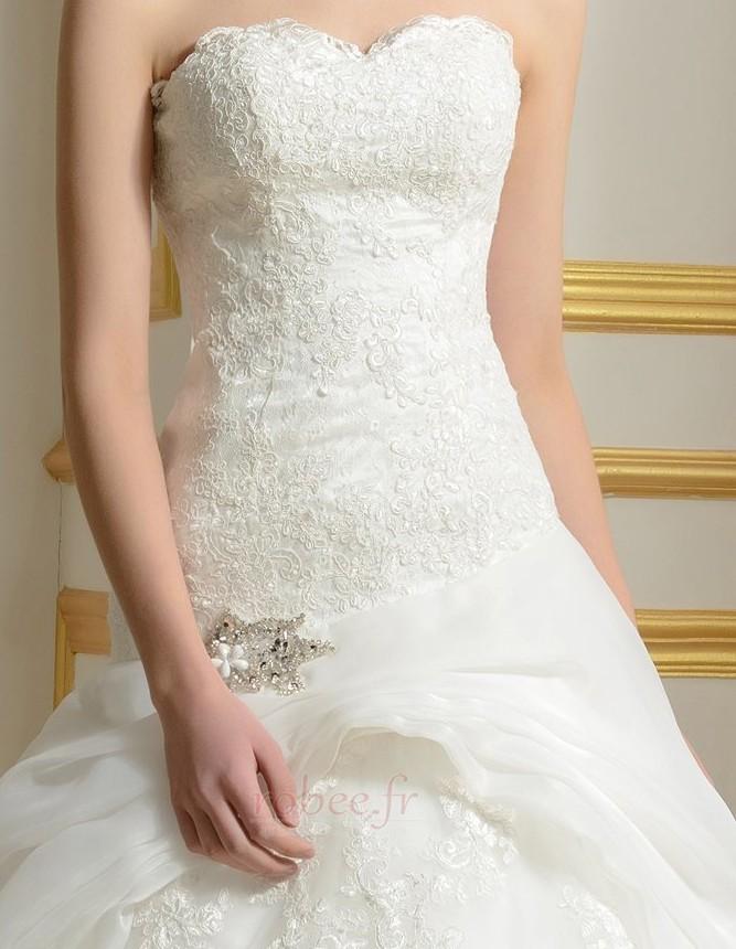 Robe de mariée Sans courroies Été A-ligne Organza Naturel taille 4