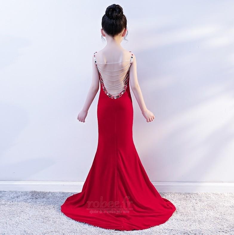 Robe de fille de fleur Sirène Perle Sans Manches Chic Manquant 2