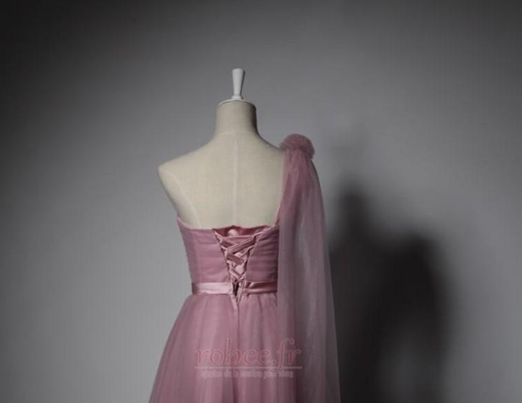 Robe de demoiselle d'honneur Laçage Mariage Col Asymétrique Glamour 4