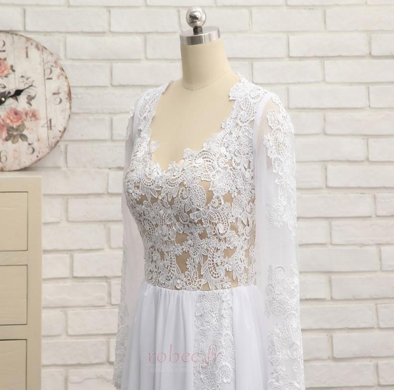 Robe de mariée A-ligne Longueur de plancher Manche Longue Plage 4