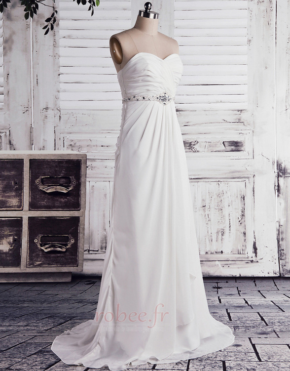 Robe de mariée Empire Longue Laçage De plein air Sans bretelles 2