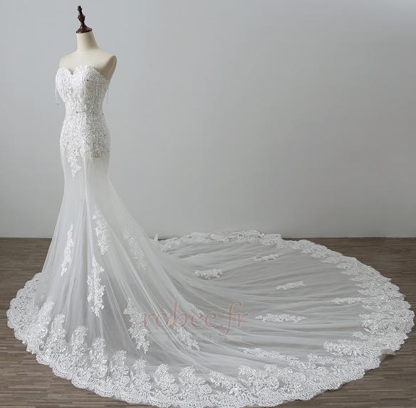 Robe de mariée Tulle Norme Automne Dépouillé Elégant Lacez vers le haut 4